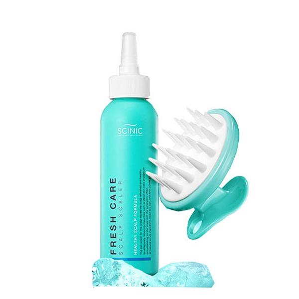 Глубоко очищающий пилинг для кожи головы + массажёр Scinic Fresh Care Scalp Scaler + Scalp Brush