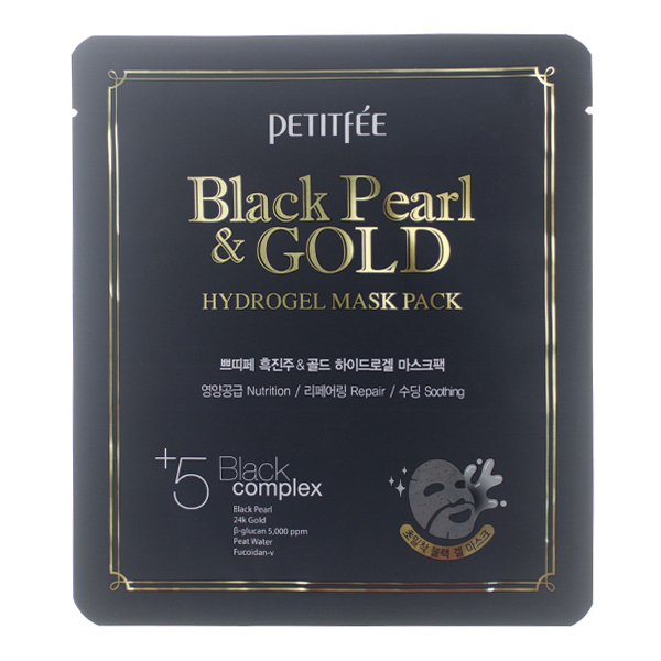 Гидрогелевая маска с золотом и чёрным жемчугом Petitfee Black Pearl & Gold Mask Pack