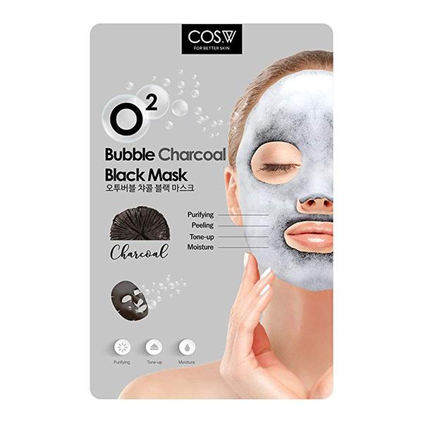 Кислородная тканевая маска c углем COS.W O2 Bubble Charcoal Black Mask