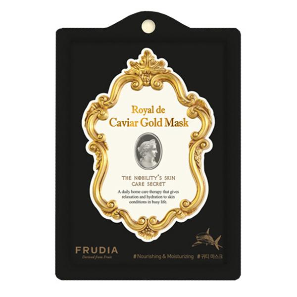 Омолаживающая тканевая маска с экстрактом чёрной икры Frudia Royal de Caviar Gold Mask