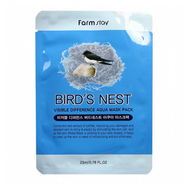 Тканевая маска для лица с экстрактом ласточкиного гнезда FarmStay Visible Difference Mask Sheet Bird`s Nest