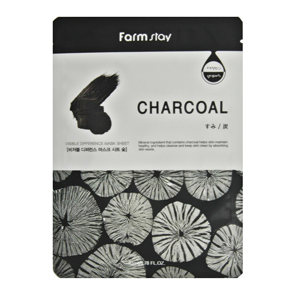 Тканевая маска для лица с уголем FarmStay Visible Difference Mask Sheet Charcoal