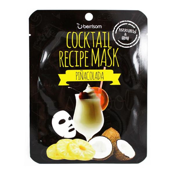 Тканевая маска с ананасом и кокосовой водой Berrisom Pina Colada Cocktail Recipe Mask