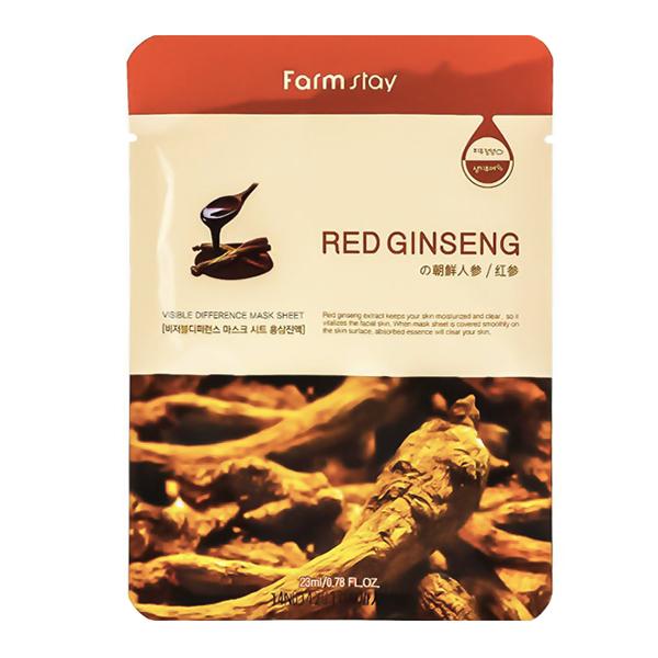 Тканевая маска для лицакрасным женьшенем FarmStay Visible Difference Mask Sheet Red Ginseng
