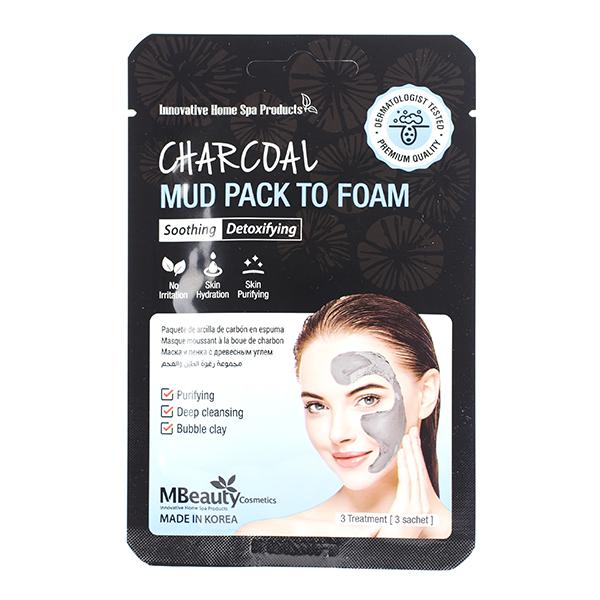 Очищающая маска-пенка с углём и белой глиной MBeauty Charcoal Mud Pack To Foam