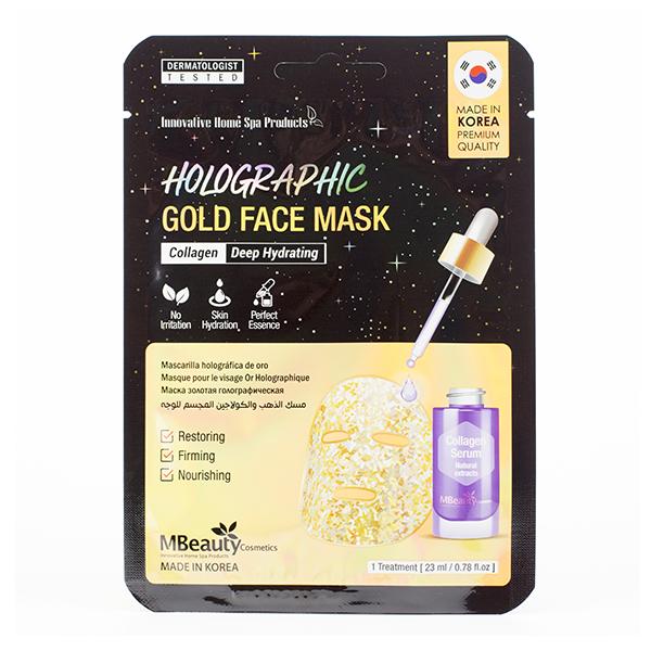 Голографическая маска с золотом и коллагеном MBeauty Holographic Gold Collagen Face Mask