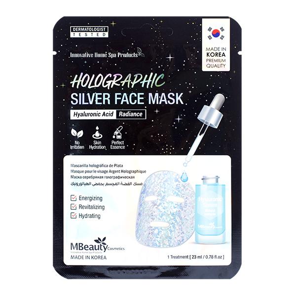 Голографическая маска с гиалуроновой кислотой MBeauty Holographic Silver Hyaluronic Acid Face Mask