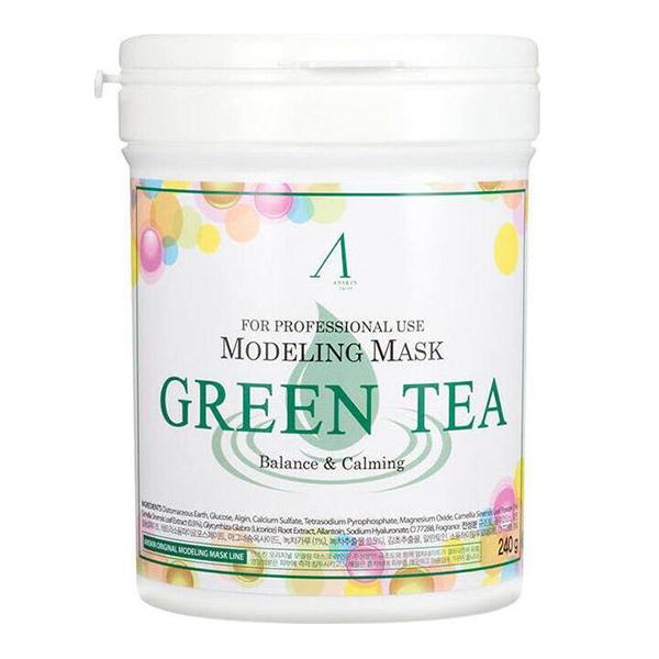 Успокаивающая альгинатная маскас зелёным чаем Anskin Green Tea Modeling Mask