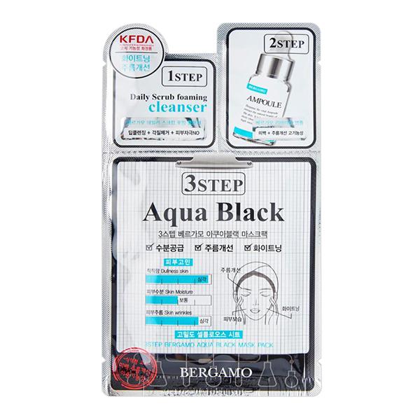 Омолаживающая трёхэтапная маска Bergamo 3 Step Mask Pack Black Aqua