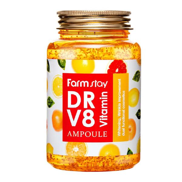 Витаминная ампульная сыворотка для тусклой кожи FarmStay DR-V8 Vitamin Ampoule