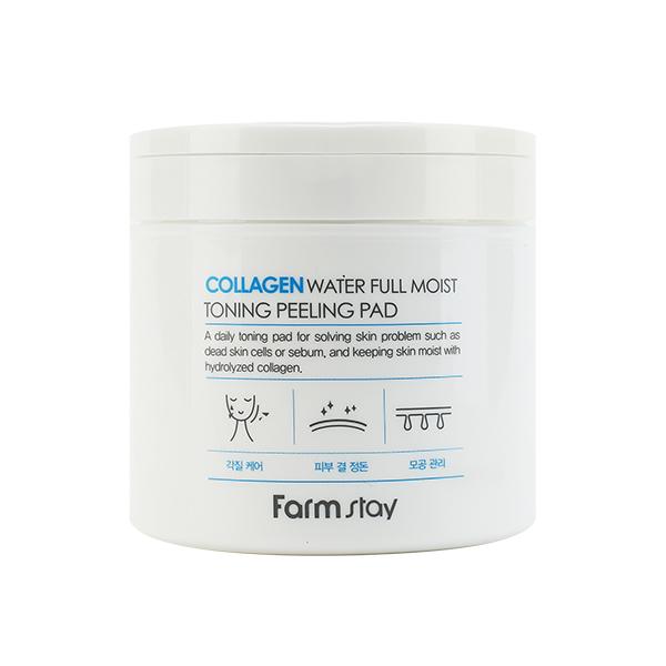 Отшелушивающие пилинг-пады с коллагеном  Farmstay Collagen Water Full Moist Toning Peeling Pad