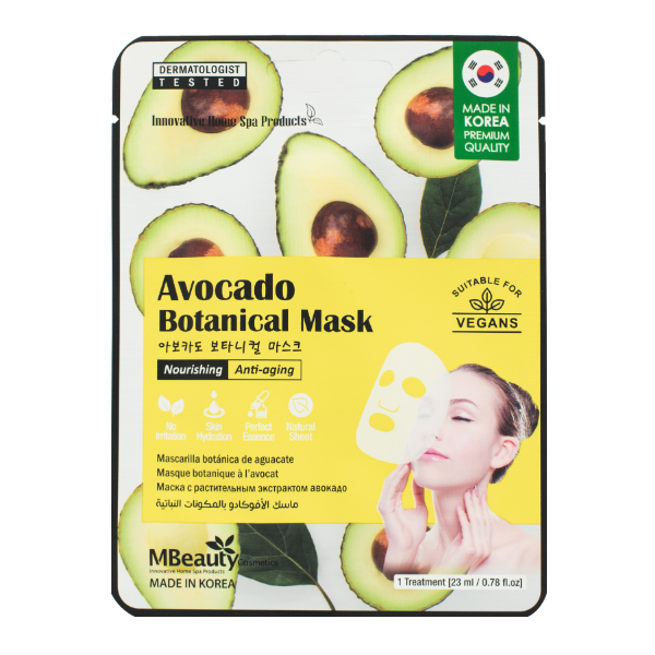 Омолаживающая тканевая маска с авокадо  MBeauty Avocado Nourishing & Anti-Aging Sheet Mask