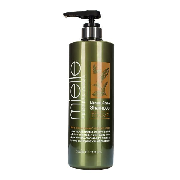 Шампунь для жирной кожи головы  MIELLE Professional Natural Green Shampoo Femme