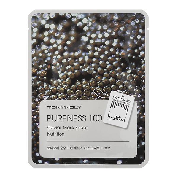 Тканевая маска с чёрной икрой Tony Moly Pureness 100 Caviar