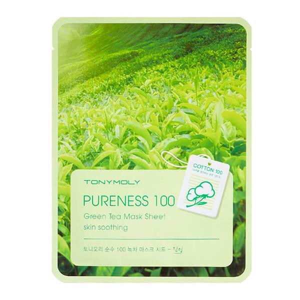 Тканевая маска с зелёным чаем Tony Moly Pureness 100 Green Tea