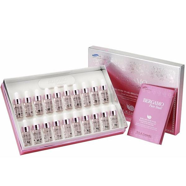 Набор ампульных сывороток с муцином улитки Bergamo Pure Snail Brightening Ampoule Set (20 pcs)