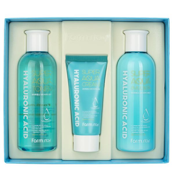 Увлажняющий набор средств с гиалуроновой кислотой  FarmStay Hyaluronic Acid Super Aqua Skin Care 3Set